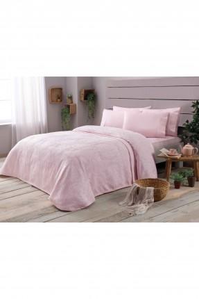 طقم غطاء سرير مزوج فاخر / 3 قطع / وردي