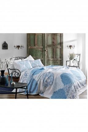 طقم غطاء سرير مزدوج قطن / 3 قطع / ازرق