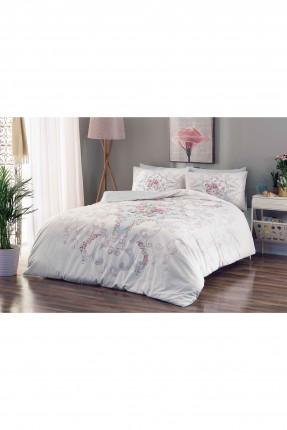 طقم غطاء لحاف سرير مفرد مقلم / 3 قطع / ازرق