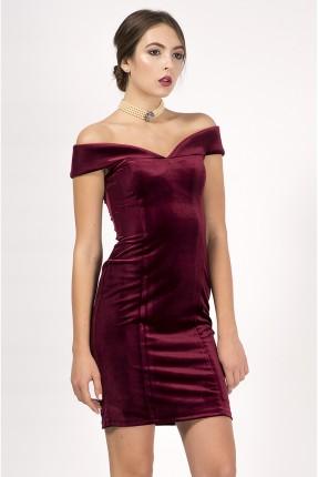 فستان رسمي خمري كتف سالت - خمري