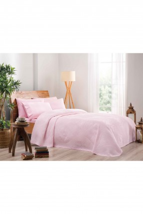 طقم غطاء سرير مزدوج / 3 قطع / وردي