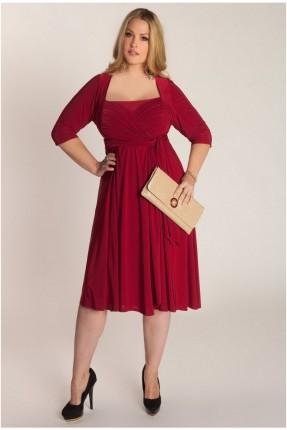 فستان رسمي مع كسرات - خمري