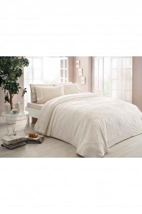 طقم غطاء سرير فردي / 3 قطع / كريم