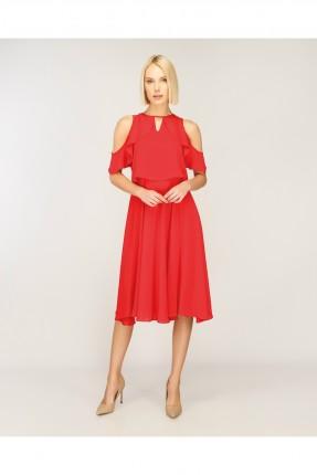فستان سبور عاري الاكتاف -احمر