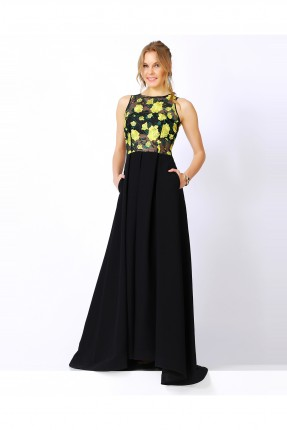 فستان سهرة لونين - اصفر و اسود