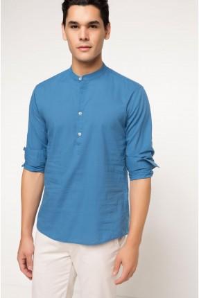 تيشرت رجالي موديل قميص - ازرق