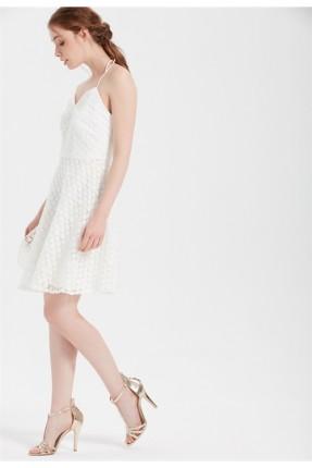 فستان سبور دانتيل - ابيض