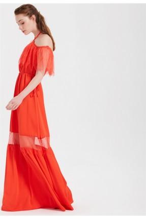 فستان سبور طويل كتف نازل
