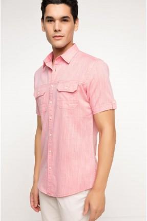 قميص رجالي نصف كم - وردي
