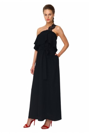 فستان رسمي كم دانتيل - اسود