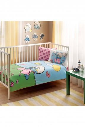 طقم غطاء لحاف سرير بيبي - سنافر