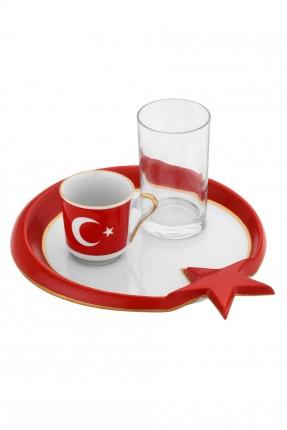 طقم قهوة العلم التركي / 3 قطع /