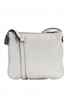 حقيبة نسائية يد جلد - رمادي