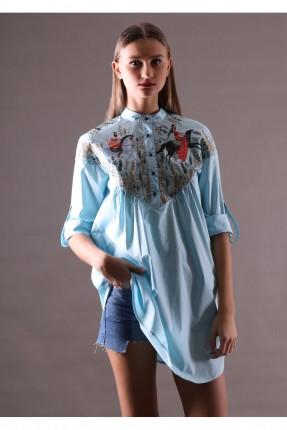 بلوز مزخرف موديل قميص بدون ياقة - ازراق