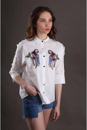 قميص نسائي مطرز - ابيض