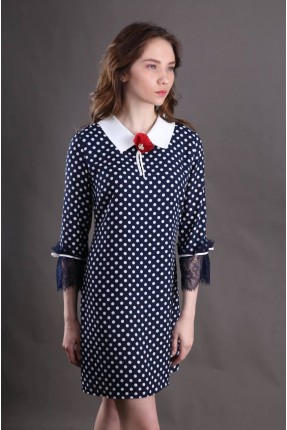 فستان سبور منقط مع ياقة - ازراق داكن
