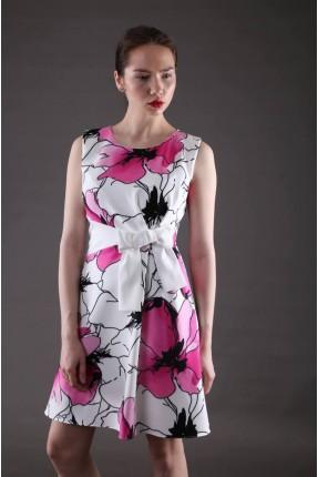 فستان سبور مورد مع فيونكة على الخصر - زهري