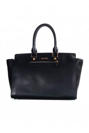 حقيبة نسائية يد جلد - كحلي