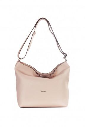 حقيبة نسائية يد جلد - زهري