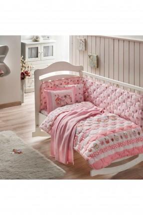 طقم لحاف سرير بيبي مع بطانية / وردي