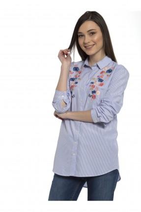قميص نسائي منقوش - ازرق