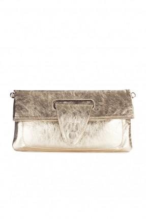 حقيبة يد نسائية جلد - ذهبي