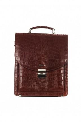 حقيبة اوراق جلد - بني محروق