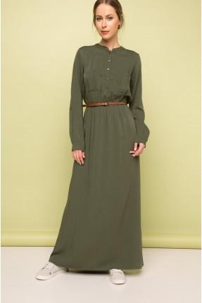 فستان سبور طويل مع حزام - زيتي