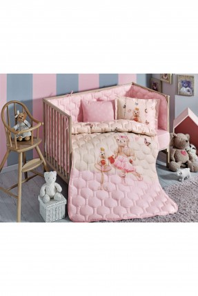 طقم لحاف سرير بيبي / 4 قطع / وردي