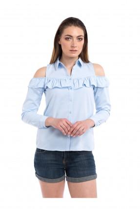 قميص نسائي كشكش - ازرق