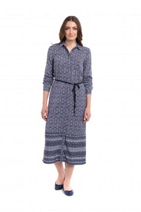 فستان منقوش مع حزام ربط