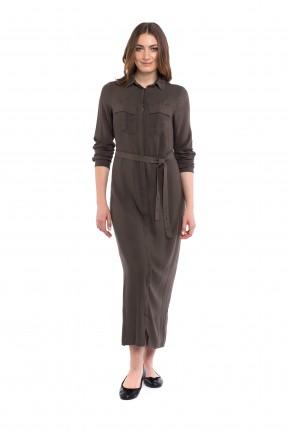 فستان طويل مع حزام ربط