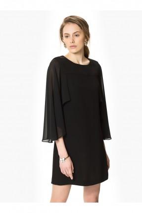 فستان رسمي قصير مع اكمام شيفون - اسود