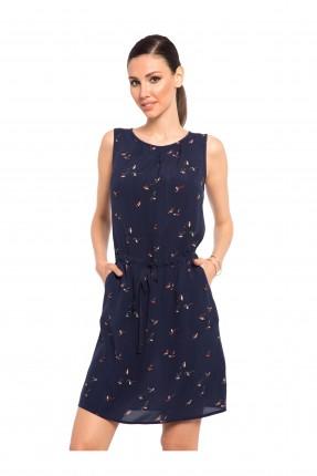 فستان قصير منقوش - كحلي