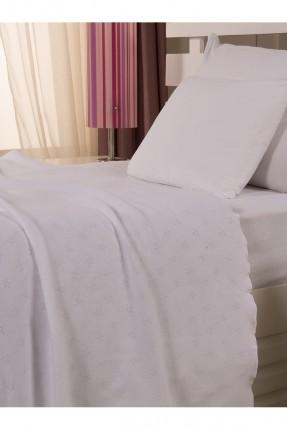 طقم غطاء سرير اطفال / 3 قطع / ابيض