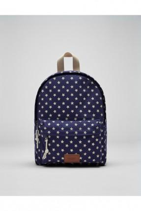 حقيبة ظهر نسائية مزخرفة بنجوم - ازرق داكن