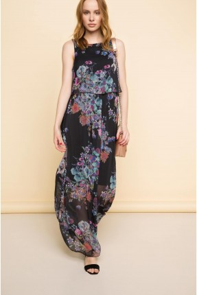 فستان سبور طويل مزهر - اسود