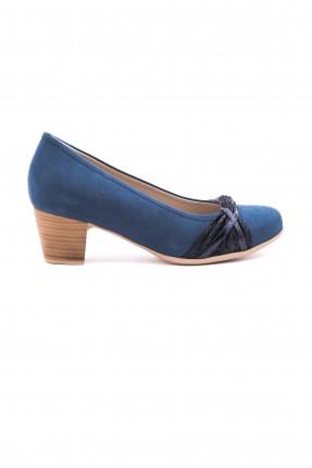 حذاء نسائي كعب عريض -ازرق داكن