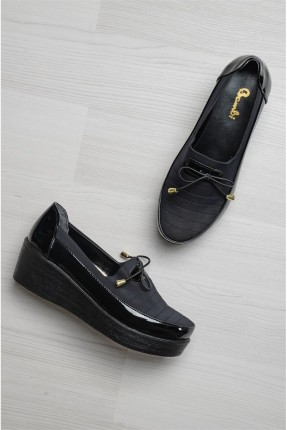 حذاء نسائي كعب متصل - اسود