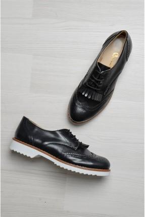 حذاء نسائية مع ربطات - اسود