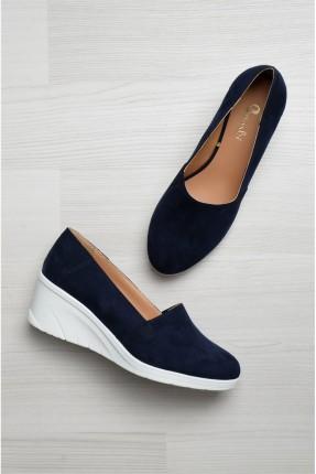 حذاء نسائي كعب متصل - ازرق داكن