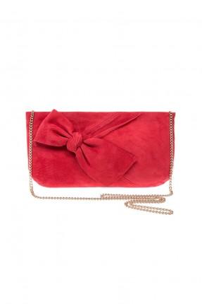 حقيبة نسائية مع فيونكة - احمر
