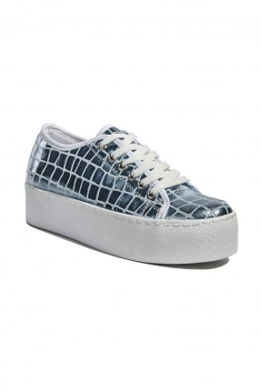 حذاء نسائي منقوش - ازرق