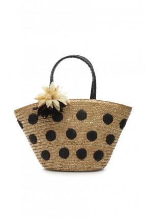 حقيبة يد نسائية منقطة مع وردة