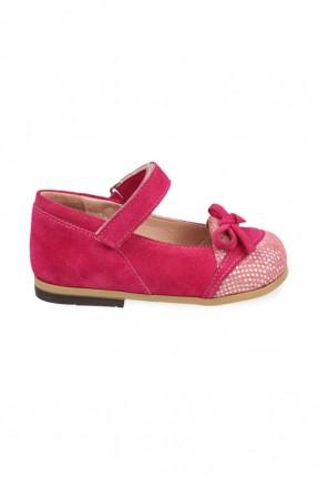 حذاء اطفال بناتي جلد - فوشيا