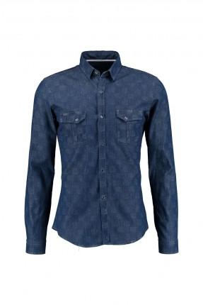 قميص رجالي- ازرق