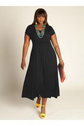 فستان طويل خصر مزموم
