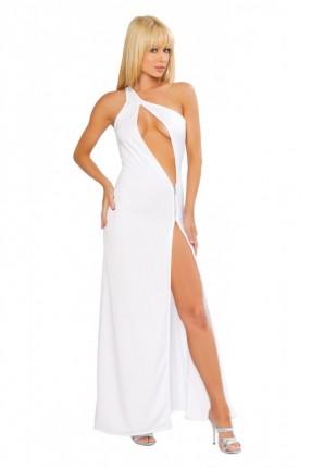 فستان ابيض طول لانجري