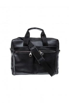حقيبة يد جلد رجالية - اسود