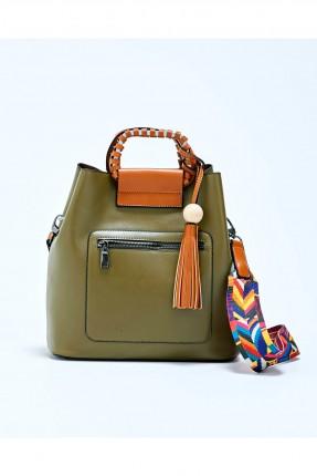 حقيبة يد نسائية مع شراشيب - اخضر